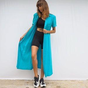 VINTAGE 80'S TURQUOISE BLUE BUTTONED MAXI DRESS
